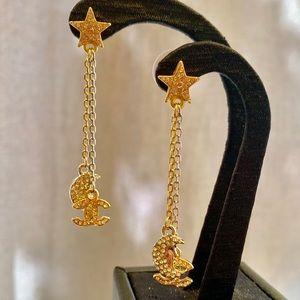 Chanel Crystal CC ⭐️ 🌙 Dangling Earrings